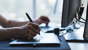 artist, hands, tablet, computer, desk, digital, drawing